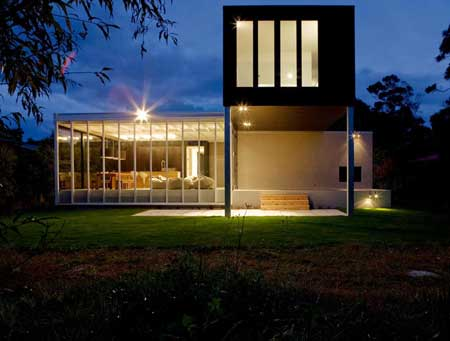 biệt thự về đêm exterior facade Rutherford House design in New Zealand